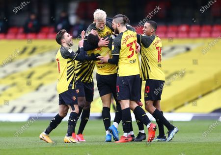 Will Hughes of Watford scores his sides third goal with team-mates