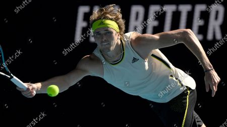 Germany's Alexander Zverev makes a forehand return to France's Adrian Mannarino during their third round match at the Australian Open tennis championship in Melbourne, Australia