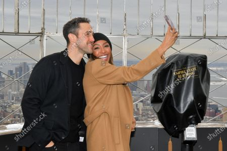 Editorial picture of Tayshia Adams and Zac Clark visit the Empire State Building, New York, USA - 12 Feb 2021