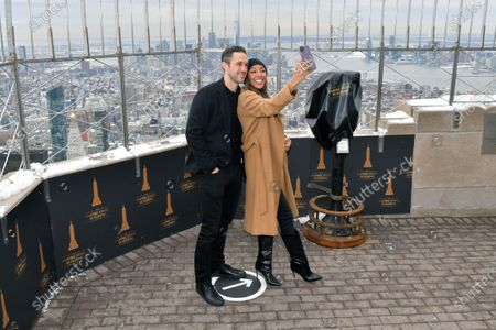 Editorial photo of Tayshia Adams and Zac Clark visit the Empire State Building, New York, USA - 12 Feb 2021