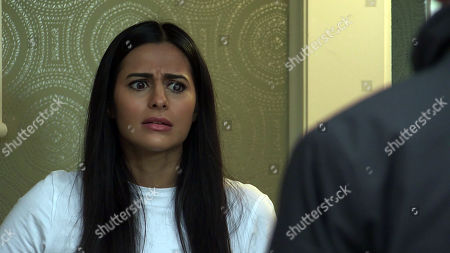 Coronation Street - Ep 10257 Wednesday 24th February 2021 - 1st Ep They're interrupted by a knock at the door. Alya Nazir, as played by Sair Khan, opens the door to find two bailiffs demanding payment of debts. Alya desperately tries to persuade the bailiffs that Yasmeen Metcalfe isn't responsible for the debts.