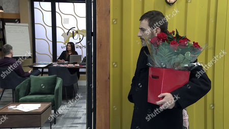 Coronation Street - Ep 10255 Monday 22nd February 2021 - 1st Ep As Carla Connor, as played by Alison King, and Lucas, as played by Glen Wallace, go over her sales strategy, neither of them notices Peter Barlow, as played by Chris Gascoyne, approaching with a bunch of flowers. What will he discover?