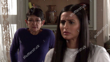 Coronation Street - Ep 10257 Wednesday 24th February 2021 - 1st Ep They're interrupted by a knock at the door. Alya Nazir, as played by Sair Khan, opens the door to find two bailiffs demanding payment of debts. Alya desperately tries to persuade the bailiffs that Yasmeen Metcalfe, as played by Shelley King, isn't responsible for the debts.