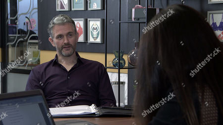 Coronation Street - Ep 10255 Monday 22nd February 2021 - 1st Ep As Carla Connor, as played by Alison King, and Lucas, as played by Glen Wallace, go over her sales strategy, neither of them notices Peter Barlow approaching with a bunch of flowers. What will he discover?