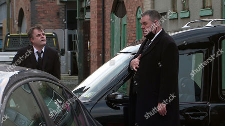Stock Photo of Coronation Street - Ep 10256 Monday 22nd February 2021 - 2nd Ep After a hair-raising ride with Steve McDonald, as played by Simon Gregson, at the wheel, a shaken George Shuttleworth, as played by Tony Maudsley, asserts it's Tim Metcalfe's turn.