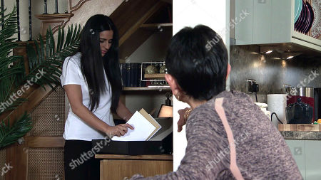 Stock Photo of Coronation Street - Ep 10255 Monday 22nd February 2021 - 1st Ep Elaine Metclafe suggests they remove all traces of Geoff from the restaurant but in doing so Alya Nazir, as played by Sair Khan, unearths a stack of unopened final demand letters. Yasmeen Metcalfe, as played by Shelley King, pales.