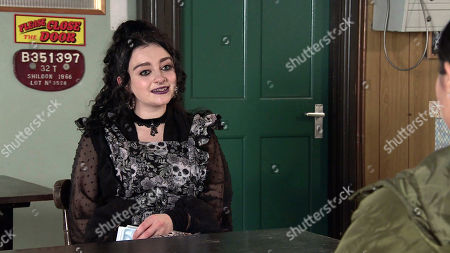 Coronation Street - Ep 10261 Monday 1st March 2021 - 1st Ep Nina Lucas, as played by Mollie Gallagher, tells Asha Alahan, as played by Tanisha Gorey, she's going bat watching with Roy. When Asha suggests she could tag along, Nina asserts she'd find it boring.
