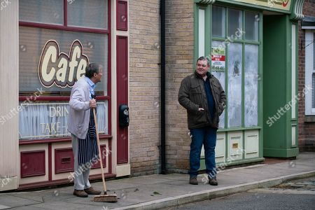 Coronation Street - Ep 10263 Wednesday 3rd March 2021 - 1st Ep George Shuttleworth, as played by Tony Maudsley, surveys the 'for sale' board on the community centre. Also pictured - Roy Cropper, as played by David Neilson.