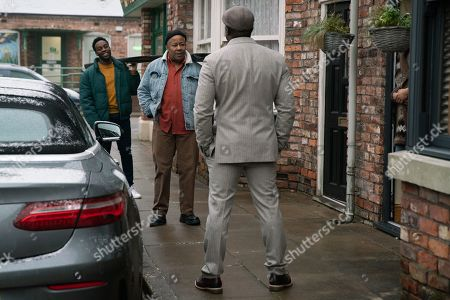 Stock Picture of Coronation Street - Ep 10253 & Ep 10254 Friday 19th February 2021 Ronnie Bailey, as played by Vinta Morgan, pulls up at No.3 in his flash sports car. Ed Bailey, as played by Trevor Michael Georges, and Michael Bailey, as played by Ryan Russell, are thrilled to see him.