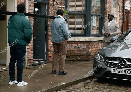 Stock Image of Coronation Street - Ep 10253 & Ep 10254 Friday 19th February 2021 Ronnie Bailey, as played by Vinta Morgan, pulls up at No.3 in his flash sports car. Ed Bailey, as played by Trevor Michael Georges, and Michael Bailey, as played by Ryan Russell, are thrilled to see him.