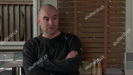 Stock Photo of Coronation Street - Ep 10259 & Ep 10260 Friday 26th February 2021 After a call from Geoff's solicitor, a shocked Tim Metcalfe, as played by Joe Duttine, reveals to Sally Metcalfe that according to Geoff's will, he now owns half of No.6 and a quarter of Speed Daal.
