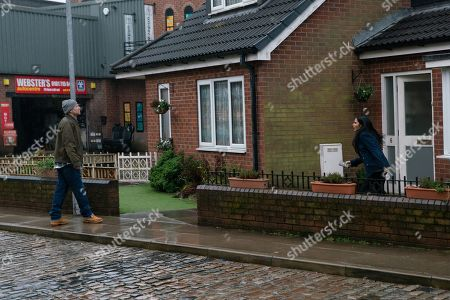 Stock Picture of Coronation Street - Ep 10264 Wednesday 3rd March 2021 - 2nd Ep Bolted in the house Yasmeen leans against the sofa gasping for air. Alya Nazir, as played by Sair Khan, and Tim Metcalfe, as played by Joe Duttine, force their way in.