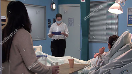 Coronation Street - Ep 10265 Friday 5th March 2021 - 1st Ep The doctor confirms that Yasmeen Metcalfe, as played by Shelley King, suffered a major panic attack brought on by stress. Alya Nazir, as played by Sair Khan, worries for her Gran.
