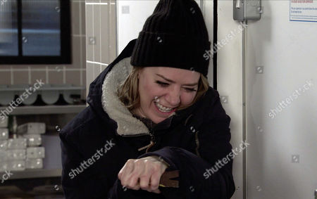 Coronation Street - Ep 10252 Wednesday 17th February 2021 - 2nd Ep Whilst Abi Franklin, as played by Sally Carman, frantically looks for something to jemmy open the door, Abi smashes the door open with a crowbar and is horrified to find Kevin Webster and Debbie Webster slumped on the fridge floor.