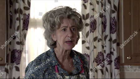 Coronation Street - Ep 10249 Monday 15th February 2021 - 1st Ep As they continue to row over the stolen furniture, Tyrone Dobbs suddenly grips his chest in agony and slumps to the floor. Fiz Stape screams at Evelyn Plummer, as played by Maureen Lipman, to call an ambulance.