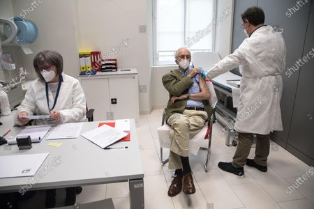 Editorial image of COVID-19 vaccination campaign for over 80s in Italy, Genoa - 12 Feb 2021