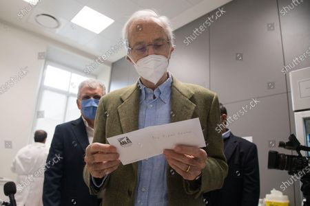 Stock Photo of Italian architect Renzo Piano after receiving a dose of the Pfizer-BioNTech vaccine against the coronavirus disease (COVID-19) in Genoa, northern Italy, 12 February 2021. Renzo Piano, 83, a world-renowned architect, was the first person to receive the vaccination in Liguria region on the 'Silver Vaccine Day' organized by the ASL3, which opened the vaccination campaign for the over 80s.