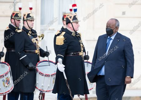 Djibouti President Ismail Omar Guelleh before their meeting at the Elysee Presidential Palace