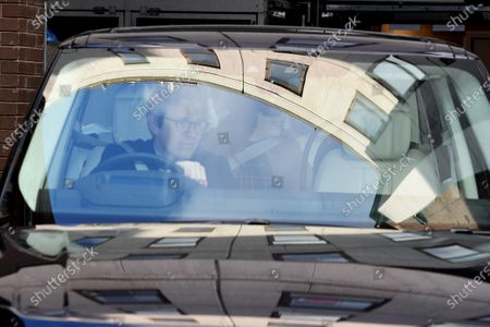 Jack Brooksbank and Princess Eugenie leaving Portland Hospital after giving birth to a son