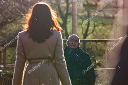 Stock Photo of Emmerdale - Ep 8970 Tuesday 16th February 2021  Meena, as played by Paige Sanghu, tells Rishi Sharma, as played by Bhasker Patel, it's about time he forgave Manpreet Sharma, as played by Rebecca Sarker, spots. Horrified at her sister's bluntness, Manpreet tries to reach out to Rishi, but he tells her he saw her talking to Charles yesterday, and can't trust her.