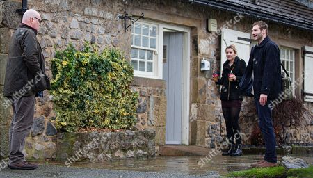 Emmerdale - Ep 8972 Thursday 18th February 2021 - 1st Ep At the vets, Jamie Tate, as played by Alexander Lincoln, confesses the extent of his feelings for Dawn Taylor, as played by Olivia Bromley, to Paddy Kirk, as played by Dominic Brunt, and reassures him it won't affect the business.