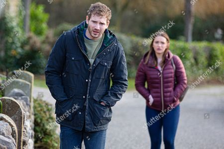 Emmerdale - Ep 8971 Wednesday 17th February 2021  Gabby Thomas, as played by Rosie Bentham, approaches Jamie Tate, as played by Alexander Lincoln, asking to talk, but he cruelly shuts her down, pointing out she was a bad drunken mistake, and advising her to forget what happened between them.