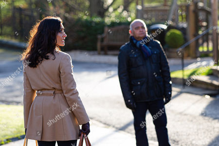 Stock Image of Emmerdale - Ep 8970 Tuesday 16th February 2021  Meena tells Rishi Sharma, as played by Bhasker Patel, it's about time he forgave Manpreet Sharma, as played by Rebecca Sarker, spots. Horrified at her sister's bluntness, Manpreet tries to reach out to Rishi, but he tells her he saw her talking to Charles yesterday, and can't trust her.