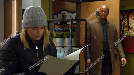 Emmerdale - Ep 8985 Thursday 4th March 2021 - 1st ep Charity Dingle, as played by Emma Atkins, breaks into the HOP office in an attempt to steal a client's contact to get back into Chas' goodbooks. Al Grant, as played by Michael Wildman, catches Charity red-handed and tempting to distract him, she throws the trophy from his business award in the air and runs for it. As Al leaps to catch his trophy, he falls, banging his head, and drops to the floor. Charity stares at him, unsure what to do...