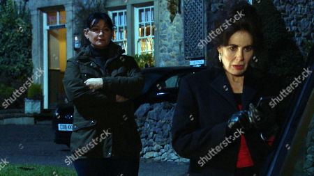 Emmerdale - Ep 8982 Monday 1st March 2021 Moira Dingle, as played by Natalie J Robb, catches Faith Dingle, as played by Sally Dexter, leaving the village, incredulous that she was going to sneak away without saying goodbye. Will her protests fall on deaf ears or can she convince Faith to stay in the village?