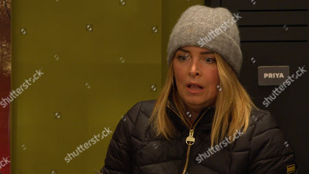 Emmerdale - Ep 8985 Thursday 4th March 2021 - 1st ep Charity Dingle, as played by Emma Atkins, breaks into the HOP office in an attempt to steal a client's contact to get back into Chas' goodbooks. Al Grant catches Charity red-handed and tempting to distract him, she throws the trophy from his business award in the air and runs for it. As Al leaps to catch his trophy, he falls, banging his head, and drops to the floor. Charity stares at him, unsure what to do...