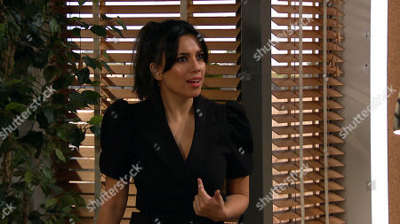 Stock Picture of Emmerdale - Ep 8985 Thursday 4th March 2021 - 1st ep Al Grant fires Priya Sharma, as played by Fiona Wade, wrongly assuming she's the one who dished the dirt on him to a client.