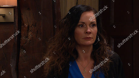 Stock Image of Emmerdale - Ep 8976 & Ep 8977 Tuesday 23rd February 2021 Charity Dingle is still being shunned by all, as she signs away the contract for her share of the pub. Pictured - Chas Dingle, as played by Lucy Pargeter.
