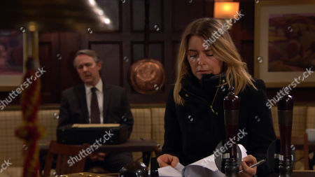 Emmerdale - Ep 8976 & Ep 8977 Tuesday 23rd February 2021 Charity Dingle, as played by Emma Atkins, is still being shunned by all, as she signs away the contract for her share of the pub.