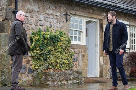 Emmerdale - Ep 8972 Thursday 18th February 2021 - 1st Ep At the vets, Jamie Tate, as played by Alexander Lincoln, confesses the extent of his feelings for Dawn Taylor to Paddy Kirk, as played by Dominic Brunt, and reassures him it won't affect the business.