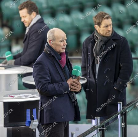 Sit Clive Woodward and Jonny Wilkinson watch the warm up; Twickenham, London, England; International Rugby, Six Nations, England versus Italy.