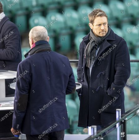 Stock Picture of Rugby World Cup winner Jonny Wilkinson watches the warm up; Twickenham, London, England; International Rugby, Six Nations, England versus Italy.
