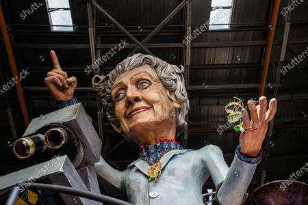 A statue of Rita Levi Montalcini is seen inside a warehouse where the allegorical floats are built. The Carnival of Viareggio was born in 1873 and nowadays is the largest Italian folk event. The rules for the prevention of Covid disease this year prevent the traditional parade of floats on Mardi Gras. The Cittadella of Viareggio in the days of the carnival is the nodal center of important events, but this year the sixteen Hangars, where the allegorical floats are built, are full of activity even though the parades have been postponed due to the pandemic of Covid-19.