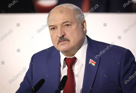 Belarusian President Alexander Lukashenko attends the All-Belarus People's Assembly in Minsk, Belarus, . Belarus' authoritarian leader says a referendum on changing the ex-Soviet nation's constitution will be held in less than a year, part of government efforts to stem the tide of opposition protests. Wrapping up the two-day All-Belarus People's Assembly, President Alexander Lukashenko said Friday that the constitutional vote would be conducted simultaneously with municipal elections, which are to be held no later than Jan. 18, 2022