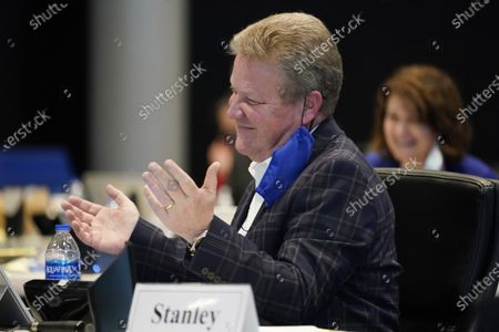 Stock Picture of Virginia state Sen. Bill Stanley, R-Martinsville reacts to a message from Virginia Gov. Ralph Northam during the Virginia Senate session at a remote location in Richmond, Va