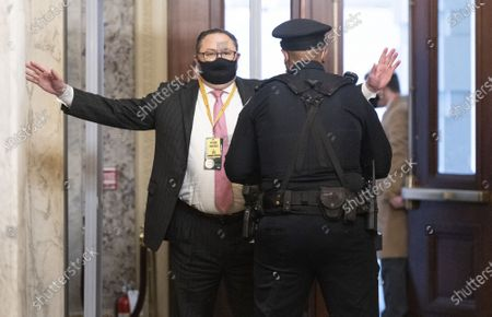 Jason Miller, Senior Adviser to the Trump 2020 re-election campaign, arrives for the start of the impeachment trial of former President Donald Trump at the U.S. Capitol in Washington DC, on Friday, February 12, 2021.