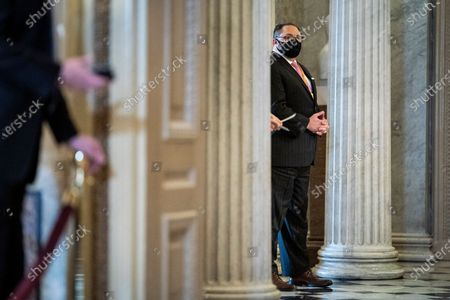 WASHINGTON, DC - FEBRUARY 12: Jason Miller is seen near the Senate floor on the fourth day of the Senate Impeachment trials for former President Donald Trump on Capitol Hill in Washington, DC.