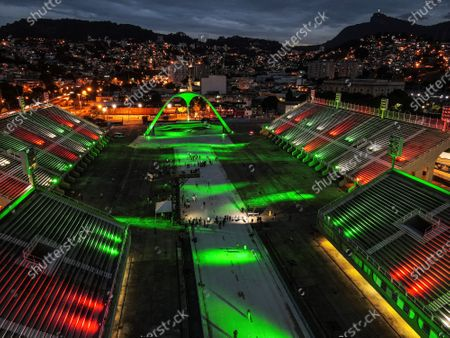 Photograph taken with a drone that shows the Rio Carnival Sambadrome, empty and illuminated, in Rio de Janeiro, Brazil, 12 February 2021. The Sambadrome, which will remain empty and silent between this Friday and Ash Wednesday due to the cancellation of the most famous Carnival in Brazil due to the covid pandemic, will have special lighting at night in tribute to the victims of the coronavirus. The light show, simulating a carnival parade and highlighting the different colors of the Rio de Janeiro samba schools, was lit this Friday by the mayor of Rio de Janeiro, Eduardo Paes, in a ceremony in which tribute was also paid to the victims of the pandemic.