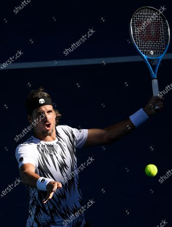 Spain's Feliciano Lopez hits a forehand return to Russia's Andrey Rublev during their third round match at the Australian Open tennis championship in Melbourne, Australia