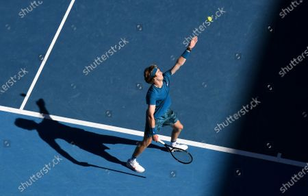 Russia's Andrey Rublev serves to Spain's Feliciano Lopez during their third round match at the Australian Open tennis championship in Melbourne, Australia