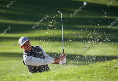 Rickie Fowler of the USA hits from a bunker on the 10th hole during the second round of the Pebble Beach Pro-Am golf tournament at Spyglass Hill in Pebble Beach, California, USA, 12 February 2021. The event in 2021 features only professional golfers due to COVID-19 restrictions.