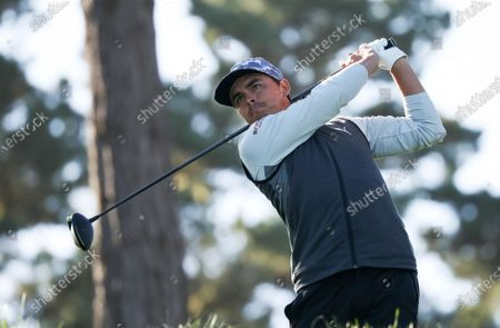 Rickie Fowler of the USA tees off on the 11th hole during the second round of the Pebble Beach Pro-Am golf tournament at Spyglass Hill in Pebble Beach, California, USA, 12 February 2021. The event in 2021 features only professional golfers due to COVID-19 restrictions.