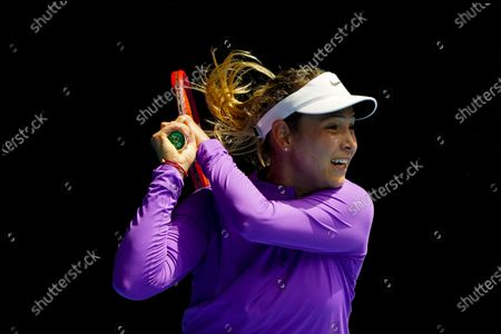 Donna Vekic of Croatia in action against Kaia Kanepi of Estonia during their third round match at the Australian Open grand slam tennis tournament at Melbourne Park in Melbourne, Australia, 13 February 2021.