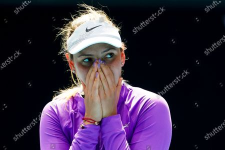Donna Vekic of Croatia celebrates after winning against Kaia Kanepi of Estonia during their third round match at the Australian Open grand slam tennis tournament at Melbourne Park in Melbourne, Australia, 13 February 2021.