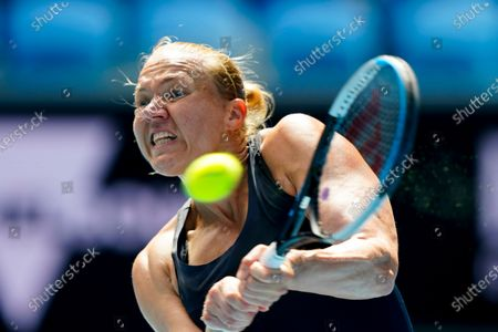 Kaia Kanepi of Estonia in action against Donna Vekic of Croatia during their third round match at the Australian Open grand slam tennis tournament at Melbourne Park in Melbourne, Australia, 13 February 2021.