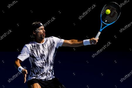 Feliciano Lopez of Spain in action against Andrey Rublev of Russia during their third round match at the Australian Open grand slam tennis tournament at Melbourne Park in Melbourne, Australia, 13 February 2021.